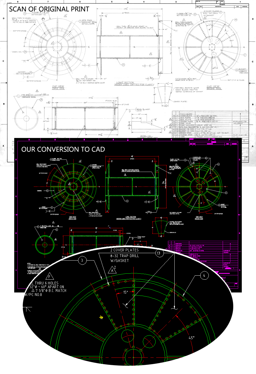 Before and After Illustration of Full CAD Conversion
