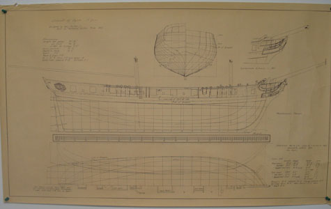Drawing of old ship hull